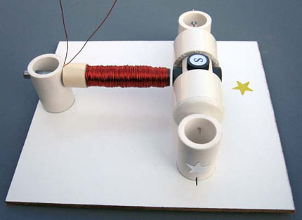 Rotor and electromagnet assembled on the board